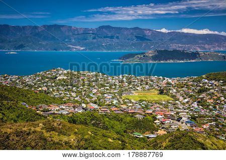 Location: New Zealand, capital city Wellington. View from the SkyLine track and Mount KayKay