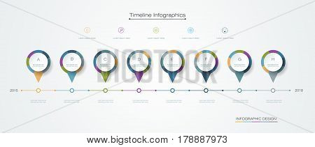 Vector infographics timeline design template with label design and icons 8 options or steps. Can be used for content, business process, infographics, diagram chart, digital network, flowchart, process diagram, time line