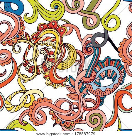 Abstract sketch decorative doodles hand drawn ethnic pattern. Contour detailed, with lots of lines background. Line art backdrop with nature, floral elements. Seamless pattern.