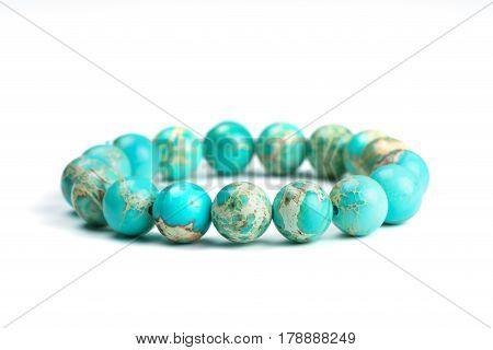 Variscite Round Bead Stretchy Bangle Bracelet on white background