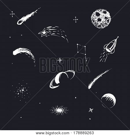 Vector illustration of universe with rocket, planets, stars, constellation, comets. Hand drawn style .Set of galactic objects