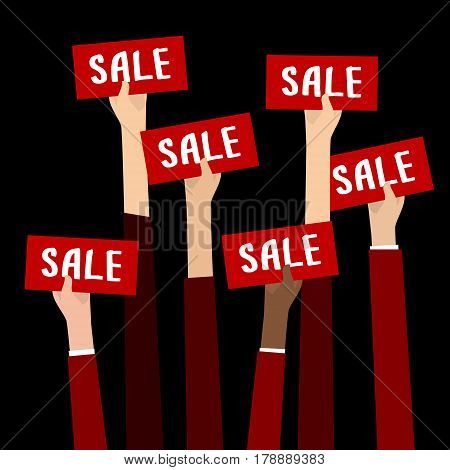 Concept of Big Sale. Businessman holding red sign boards with the word Sale. A lot of hands hold placards. Flat design, vector illustration.