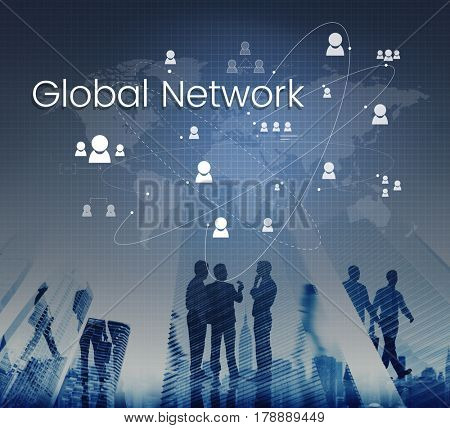 People connected global communication technology