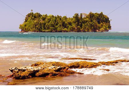 A view to Punta Mona's island in Costa Rica on the Caribbean side.