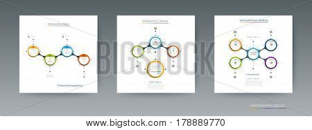 Vector set of Infographic 3D circle label design with arrows sign and 4 options or steps. Can be used for business, infograph, template, process, infographics, diagram chart, flowchart, processes diagram, time line