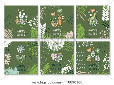 Set of creative colorful banners for Happy Easter. Cute Easter symbols in every poster. Bunnies, eggs, cakes drawn in stylish cartoon style. Greeting card design with congratulations. Vector