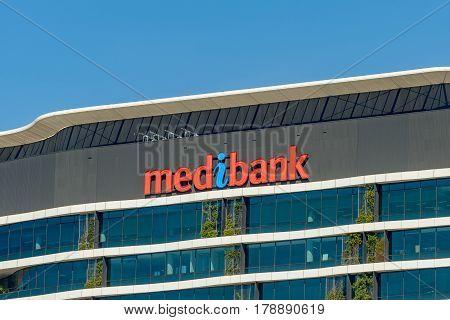 MELBOURNE AUSTRALIA - NOVEMBER 03 2016: Medibank healthcare insurance building at Victoria Harbour in docklands Melbourne.