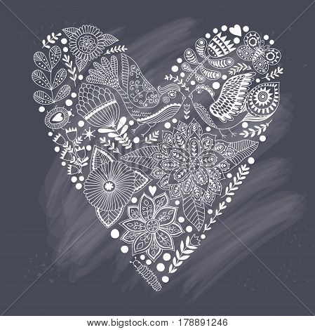 Floral heart made of flowers. Doodle Heart. Valentines day card, herbs and flowers doodles. Valentine s day template greeting card. Flowers in heart shape.