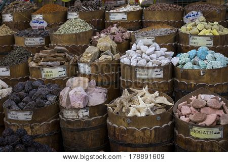 Traditional spices bazaar with herbs and spices in Aswan Egypt. poster