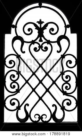 Old metal lattice work of a blacksmith, isolated on a white background