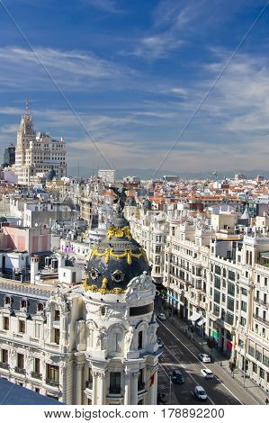 Aerial View of old city of Madrid and Calle Gran Via Spain