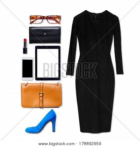 Still life of business clothing and accessories for woman on isolated white background