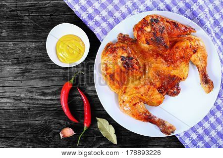 Roasted Whole Chicken On White Plate, Top View