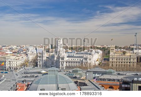 Aerial view of the Cybele Palace (Palacio de Cibeles) on Cybele square (Plaza de Cibeles) in Madrid Spain