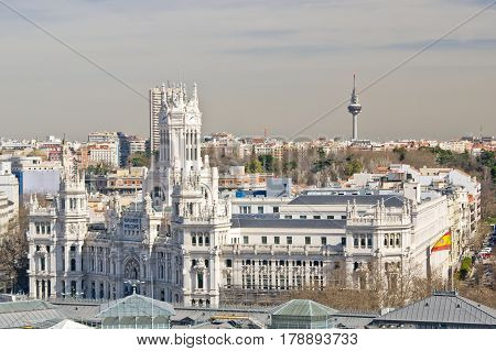 Panoramic view to The Cybele Palace on Cybele square in Madrid Spain
