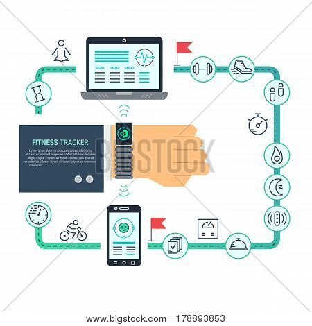 Vector fitness tracker flat line infographic Hand with bracelet device for monitoring sport activity, burning of calories, sleep, distance, steps, heartbeat. Data exchange with computer and smartphone