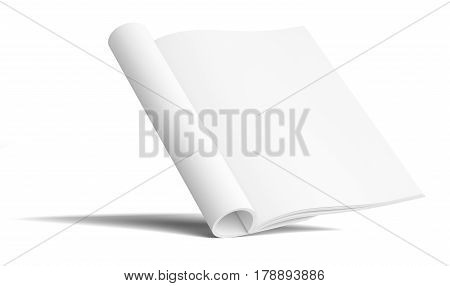 Blank Paper Brochure With Shadows. Isolated On White Background. Mock Up Template. 3D Illustration