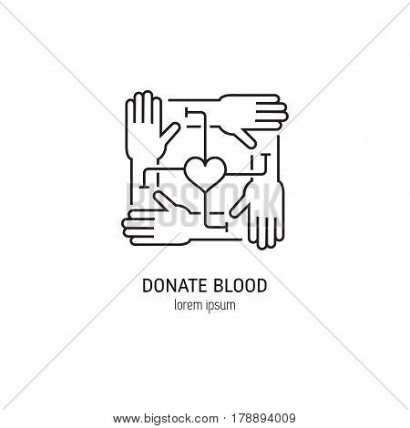 Vector blood donation concept with donor arms and heart in trendy linear style isolated on white background. Perfect for  t-shirt, posters, bags print. Vector  line icon.