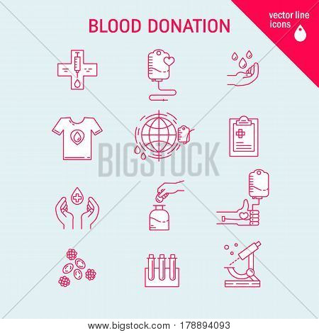Vector blood donation icons set with donor arm, blood donation bag, blood drops symbols isolated.  Give blood concept in trendy linear style. Vector illustration.