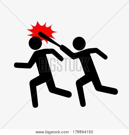 Icon robbery, pictograph violence. Flat style. One symbolically drawn person catches up and beats another with a stick. Vector illustration isolated from background