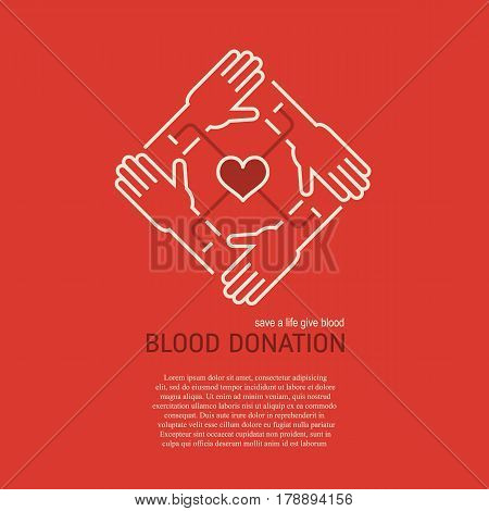 Vector blood donation concept with donor arms and heart in trendy linear style isolated on red with place for text. Perfect for t-shirt, posters, bags print. Vector  line icon.