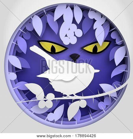 Vector illustration Paper box of shadow to bird on Blackthorn tree branch. Concept paper cut origami design.