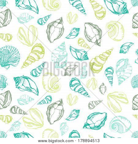 Vector sea shells seamless pattern. Hand drawn surface pattern design with colorful shells isolated on white background. Seamless texture perfect for wallpapers, web page backgrounds, surface textures
