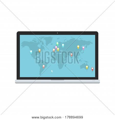 Laptop and blue world map with map pointers. Vector illustration for communications logistic and infographics design.