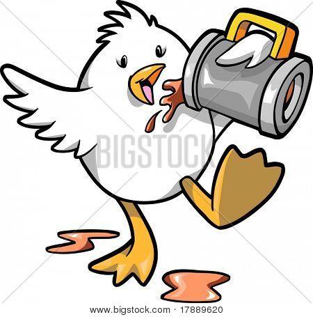 Drinking chicken Vector Illustration