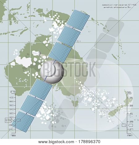 Vector illustration depicting a communications satellite over Australia