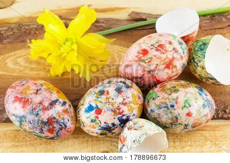 Hand Painted Easter Eggs And Narcissus Flower