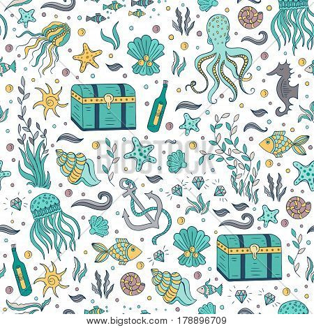 Vector seamless pattern with sea and nautical elements: octopus, fishes, anchor, shells, dower chest. Hand drawn surface pattern design. Can perfect wallpapers, web page backgrounds, surface textures.