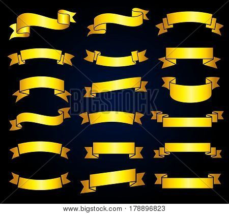 Retro golden ribbon banners vector stock. Empty ribbon label collection illustration