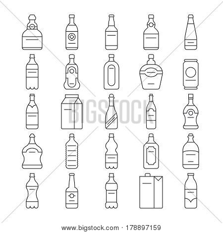 Alcohol drink bottles and beverage vector line icons set. Linear pack milk and glass bottle wine illustration
