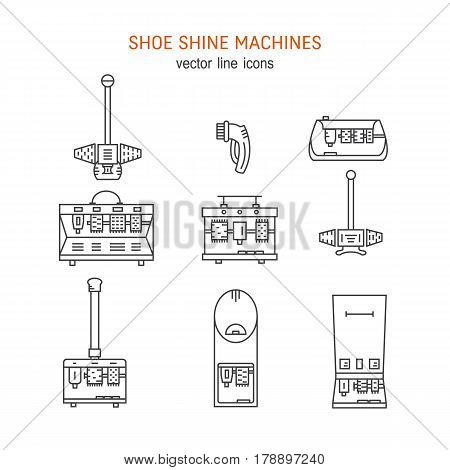 Vector icons collections with different type of shoe shine machines. Shoe Shine service. Outline icon for shoe care in trendy linear style.