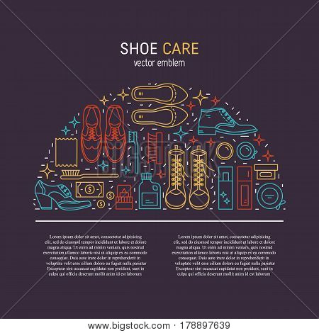 Vector icons collections with different type of shoes and  shoe care equipment. Elements for Shoe Shine service and place for text. Outline icon for shoe care in trendy linear style.