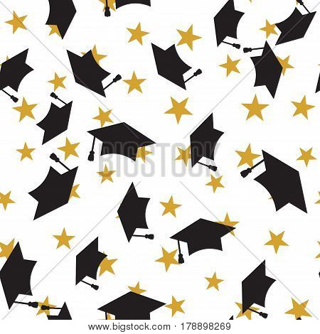 Graduate black hat seamless pattern with golden stars, graduation caps thrown in the air, square academic cap, mortarboard for college, university students, education concept, white background