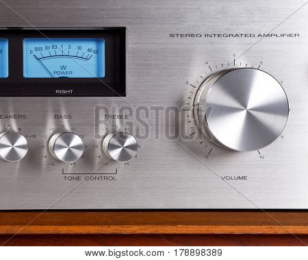Vintage Stereo Audio Amplifier Volume Knob closeup