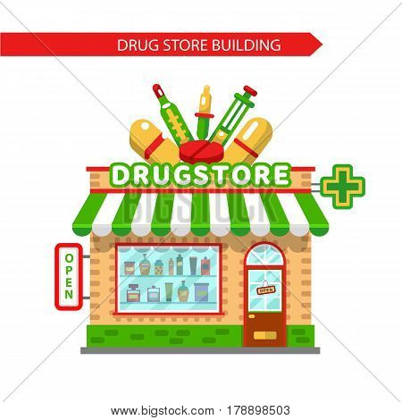 Vector flat style illustration of  cartoon drugstore building. Signboard with big syringe, pipette, tablets, thermometer. Showcase with pills and potions. Isolated on white background.