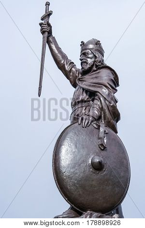 Statue of King Alfred the Great who ruled the Kingdom of Wessex England from 871 to 899