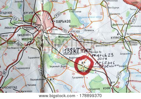 Map of Ukraine  with location of Balakleya .Place of arsenal explosion at 23 march. 138 kT. of TNT power.March 23 ,2017 in Kiev, Ukraine