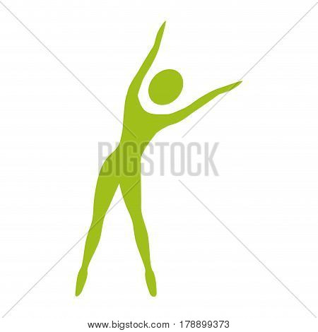 silhouette woman stretching side right vector illustration