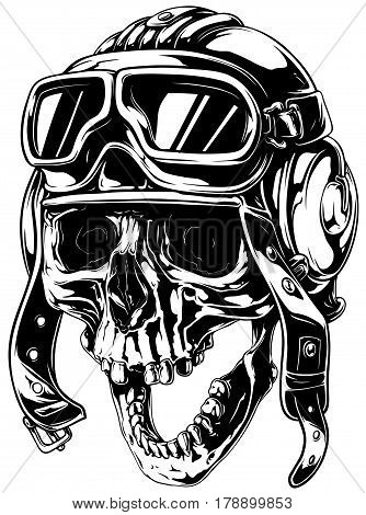 A vector tattoo illustration of crazy smiling old human skull in retro aviator helmet with open jaw