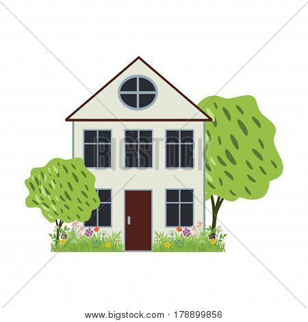 House with garden vector simple isolated icon