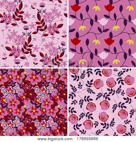 Seamless patterns with decorative pink colorway flowers