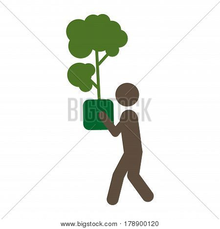 person with tree inside of plantpot, vector illustration