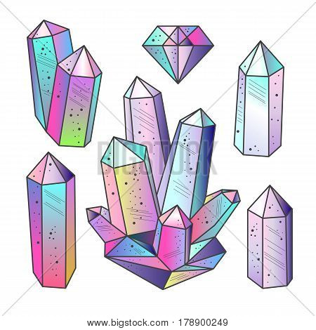 Magic fairytale crystals in sketch hand drawn style isolated. Colorful gradient gems set. Vector elements.