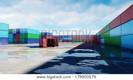 Container depot, wharehouse, seaport. Aeril view. Cargo containers. Logistic and business concept 3d rendering