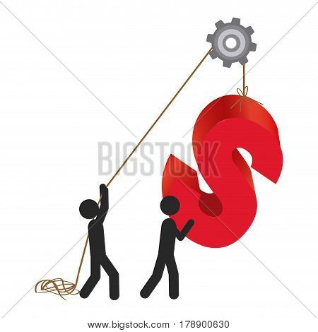 person with pulleys hanging the s symbol, vector illustration design