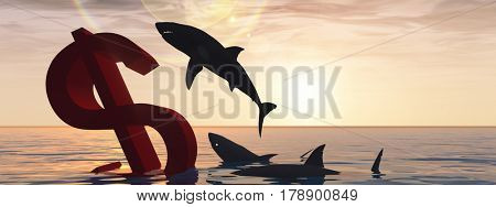 Conceptual 3D illustration bloody dollar symbol sign sinking in water or sea, with black sharks eating